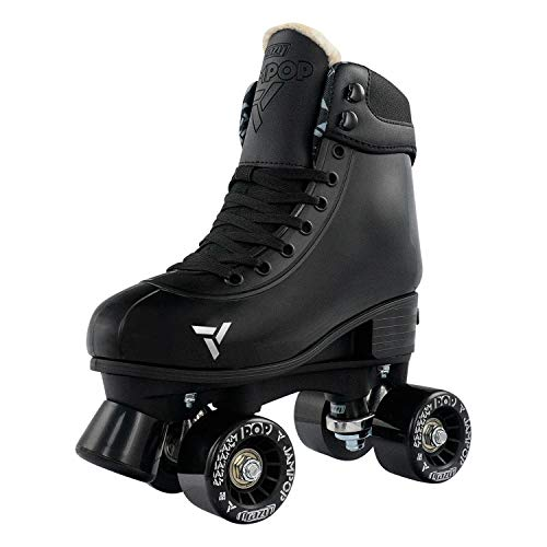 Crazy Skates Adjustable Roller Skates for Boys and Girls - Jam Pop Series - Black Medium (Sizes 3-6)