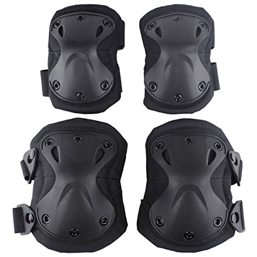 Aoutacc Tactical Combat Knee & Elbow Protective Pads Set for Outdoor CS Paintball Game Cycling Safety Skateboarding Gear Skates Knee Protection Guard Pads (Black)
