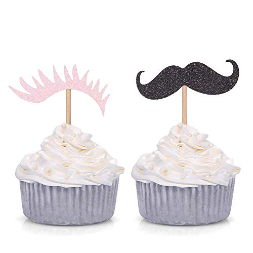 Pack of 24 Staches or Lashes Gender Reveal Cupcake Toppers Baby Shower Decorations (Black and Pink)