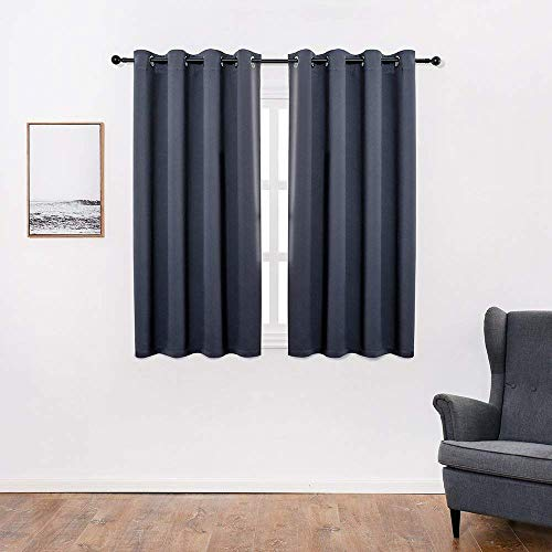 Anjee Blackout Curtains for Bedroom 45 Inches Length Navy Blue Window Drapes Thermal Insulated Panels Solid Plain Drapery, Navy Blue 52x45 Inches