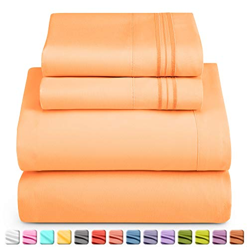 Nestl Deep Pocket Twin Sheets: Twin Size Bed Sheets with Fitted and Flat Sheet, Pillow Cases - Extra Soft Microfiber Bedsheet Set with Deep Pockets for Twin Sized Mattress - Apricot Buff Orange