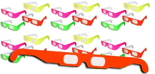 1 X 20 Pairs - Neon Prism Diffraction Fireworks Glasses - For Laser Shows, Raves - Ships Flat