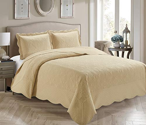 Home Collection 3 Piece Full/Queen Over Size Embossed Solid Khaki/Beige Color Coverlet Bedspread New