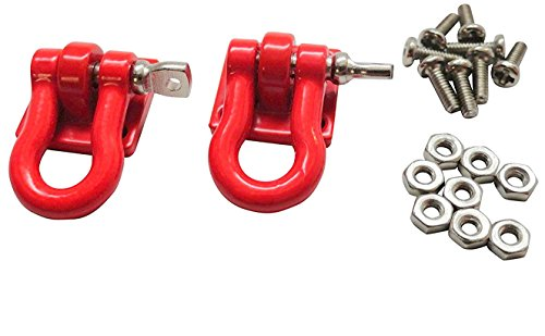 Apex RC Products 1/10 RC Rock Crawler Scale Red Winch Shackles - 2pcs 4051