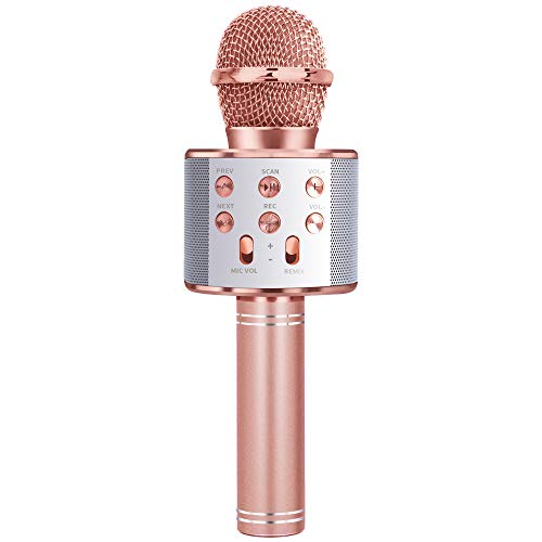 LITTLEFUN Gift for 3-11 Year Old Girls Kids, Popular Microphone Birthday Gift Age 5-11 Kid Girl Speaker Microphone Singing Toy for 5-12 Year Old Teen Children Mic Rose Gold