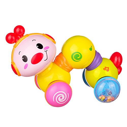 Coolecool Press and Crawl Cute Creeping Worm Baby Toys 6 to 12 Months Toddler Activity Toys with Smiling Face, Sweet Music and Pretty Lights (Multicolored)