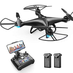 Holy Stone HS110D FPV RC Drone with 1080P HD Camera Live Video 120� Wide-Angle WiFi Quadcopter with Altitude Hold Headless Mode 3D Flips RTF with Modular Battery, Color Black