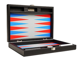Silverman & Co. 13-inch Premium Backgammon Set - Travel Size - Black Board, Scarlet Red and Patriot Blue Points
