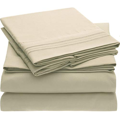 Mellanni Bed Sheet Set - Brushed Microfiber 1800 Bedding - Wrinkle, Fade, Stain Resistant - 3 Piece (Twin XL, Beige)