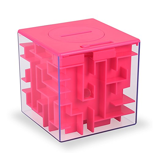 ThinkMax Money Maze Puzzle Box, Perfect Puzzle Money Holder and Brain Teasers for Kids and Adults (Pink)
