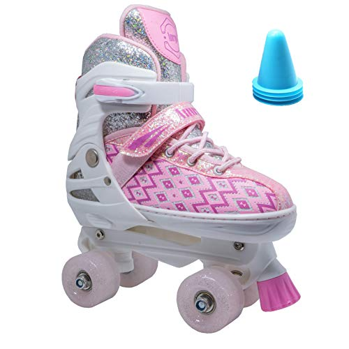 WiiSHAM Fun Roll Adjustable Canvas Roller Skates with Four Piles (Pink White, Small)