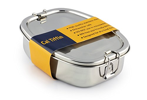 Cal Tiffin Stainless Steel OVAL Bento Lunch box (made in INDIA); 25 oz, 2-compartment - Eco friendly, Dishwasher Safe, BPA free, Plastic free; Made in India