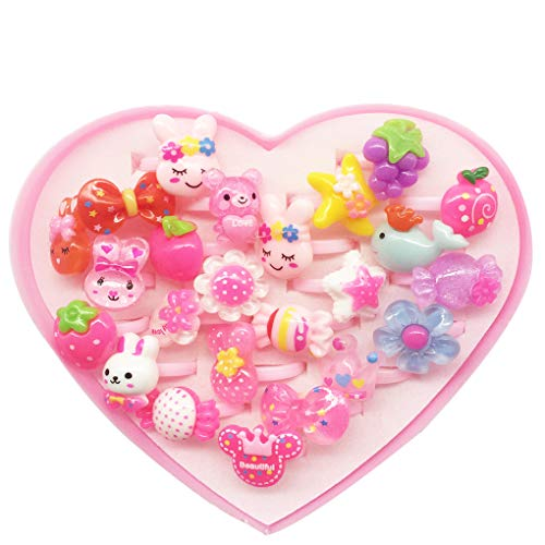 HYHP 24 Pieces Girls Rings Dress Up Girls Pretend Rings Kids Rings, Princess Jewelry Finger Rings with A Heart-shape Box