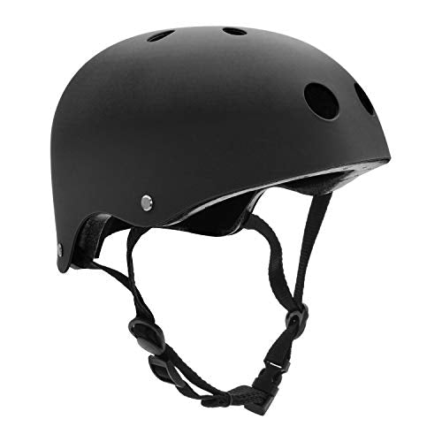 FerDIM Skateboard Helmet, Children/Adult Bike Helmet with Removable Liner Skiing, Adjustable Straps CPSC Certified for Skateboard, Scooter, Skating, Cycling, Roller Skate,Skiing, Size Small Black