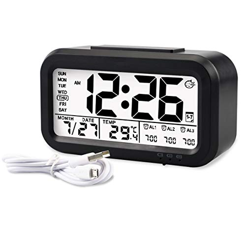 Aitey Kids Alarm Clock, Digital Alarm Clock for Kids, Time/Temperature Display, Snooze Function, 3 Alarms, Optional Weekday Mode, USB Charging (Black)
