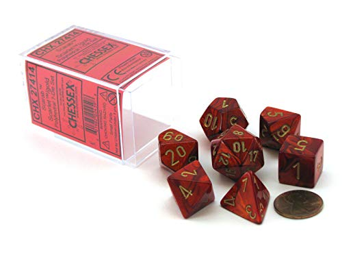 Chessex Dice: Polyhedral 7-Die Scarab Dice Set - Scarlet with Gold CHX-27414