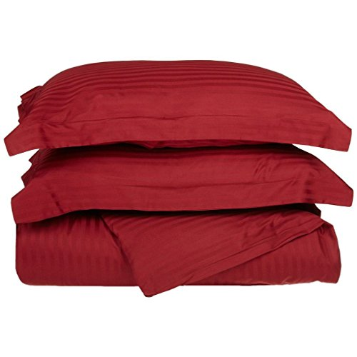 Combed Cotton 300 Thread Count Twin 2-Piece Duvet Cover Set Stripe, Burgundy