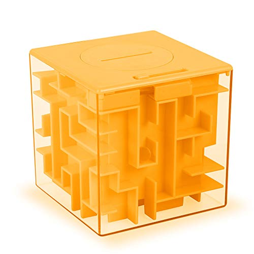 ThinkMax Money Maze Puzzle Box Gift, Perfect Puzzle Money Holder, Funny and Cool Brain Teasers for Kids, Boys, Girls, Teens and Adults, Perfect Christmas Gag Gifts (Orange)