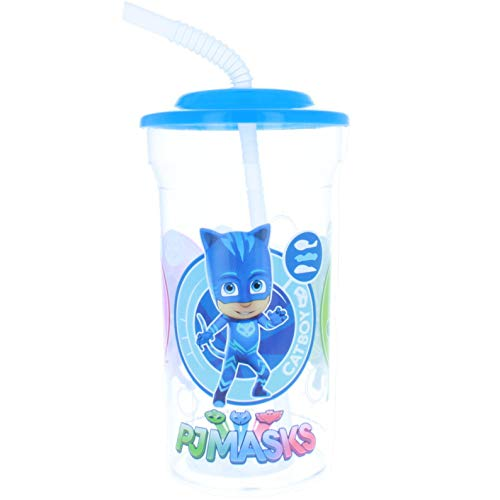 Karacter Corner PJ Masks Catboy, Owlette and Gekko 16oz Sports Drink Cup with Attached Straw Lid