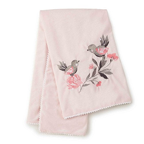 Levtex Baby - Elise Plush Blanket - Embroidered Birds and Flowers on Pink Plush - Pink, Grey and White - Nursery Accessories - Blanket Size: 30 x 40 in.