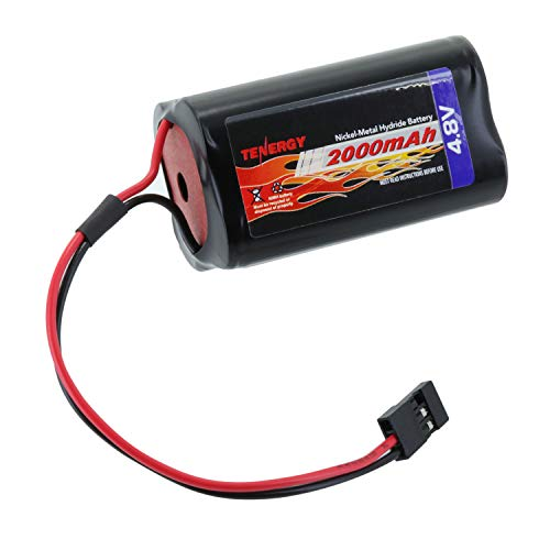 Tenergy NiMH Receiver RX Battery with Hitec Connectors 4.8V 2000mAh High Capacity Futaba Battery Pack, Square Rechargeable Battery Pack for RC Receivers, Airplanes, and More
