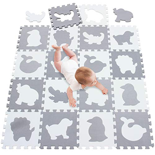 meiqicool Foam Play Mat Foam Floor Tiles Floor Jigsaws Mat Playmats&Floor Gyms for Children,Kids Large Floor Tiles Grey&White 142 x 114 x 1.0cm(55.9