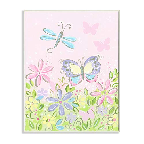 The Kids Room by Stupell Pastel Butterfly and Dragonfly Stretched Canvas Wall Art, 16 x 20, Multi-Color
