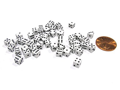 Koplow Games 50 Six Sided D6 5mm .197 Inch Die Small Tiny Mini Miniature White Dice