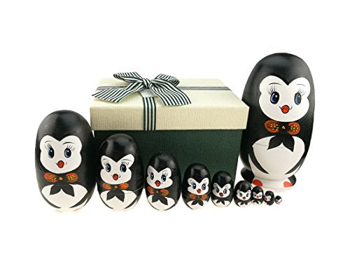 Apol Lovely Penguin with Bowtie Egg Shape Handmade Wooden Russian Nesting Dolls Matryoshka Doll Set 10 Pieces in a Box with Bow for Home Decoration Kids Toy Birthday Christmas Easter Gift