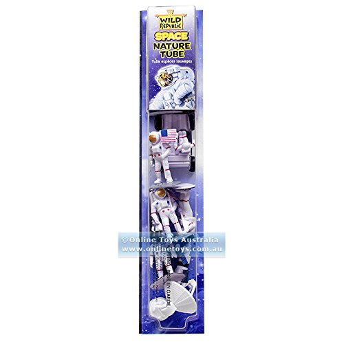 Wild Republic Figures Tube, Outer Toys, Shuttle, Astronaut, Space Station, Apollo Spacecraft, Lunar Rover, Saturn Rocket, Satellites 1.5