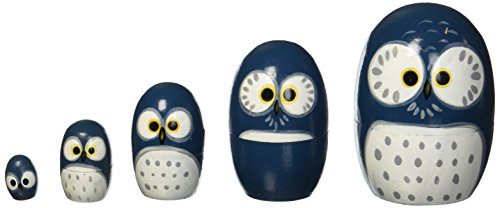 Happy Sales HSMD5/BL, Wood Nesting Doll-Owl (Blue)