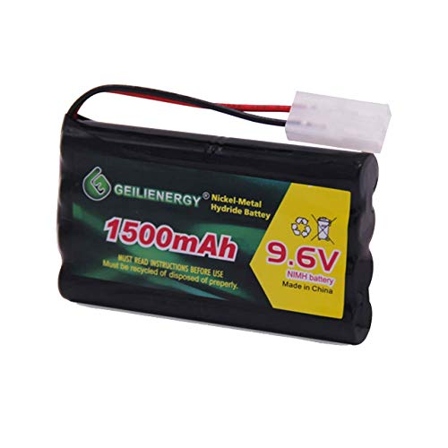 GEILIENERGY NiMH Battery Pack 9.6V 1500mAh High Capacity Rechargeable RC Battery with Standard Tamiya Connector for RC Car, Robots and OTC Genisys 239180 & EVO Scan Scanner(1 Pack)