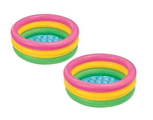 Intex 2.8ft x 10in Sunset Glow Inflatable Colorful Baby Swimming Pool (2 pack)