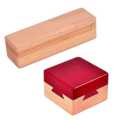 Wooden Puzzle Boxes Toy 2 Pack Brain Teasers Secret Opening Magic Drawers with Hidden Compartments for Gift, Money, Jewelry or Other Surprises Holder