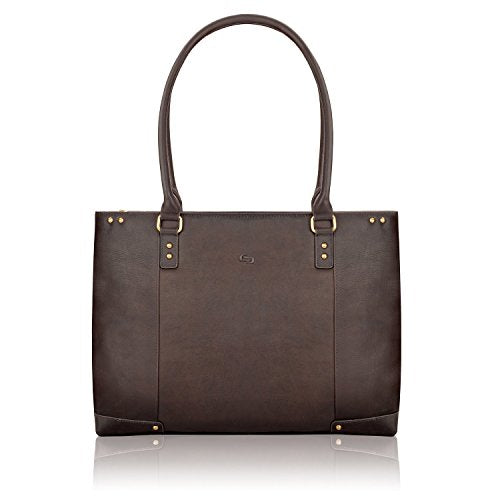 SOLO Jay 15.6 Inch Leather Laptop Carryall Tote, Espresso