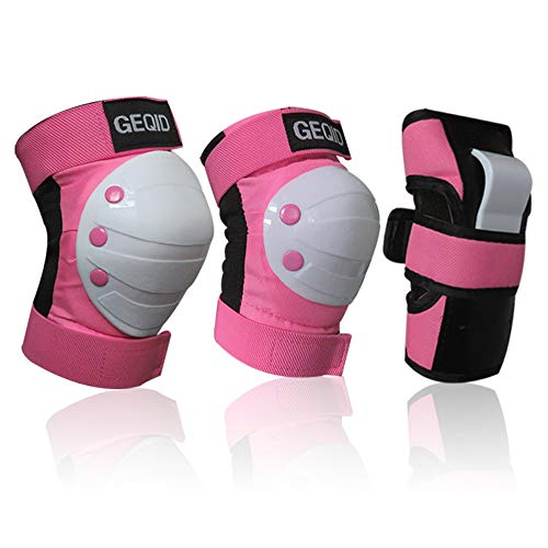 GEQID Youth/Child Knee Pads Elbow Pads Wrist Guards 6 in 1 Protective Gear Set for Kids Multi Sports Skateboarding Inline Roller Skating Rollerblade (Pink, Small)