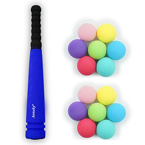 Aoneky Min Foam Bat with Multi Balls for Toddler - Indoor Soft Super Safe TBall Set Toys for Kids Age 2 Years Old (Blue)