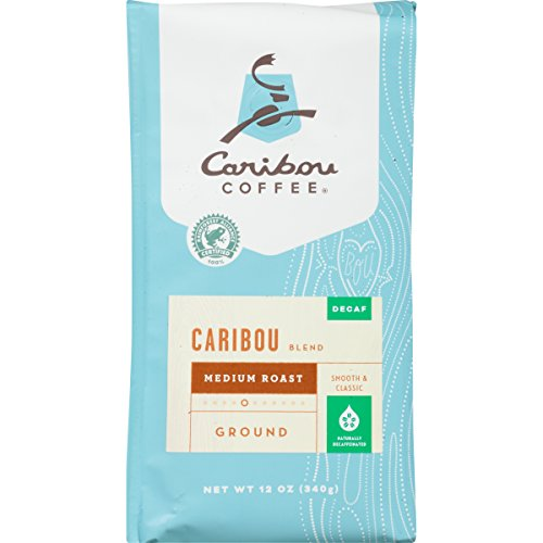 Caribou Coffee, Caribou Blend, Decaf, Ground, 12 oz. Bag, Smooth & Balanced Medium Roast Coffee Blend from the Americas & Indonesia, with A Rich, Syrupy Body & Clean Finish; Sustainable Sourcing
