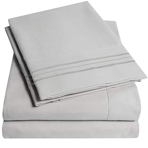 1500 Supreme Collection Bed Sheets Set - Luxury Hotel Style 4 Piece Extra Soft Sheet Set - Deep Pocket Wrinkle Free Hypoallergenic Bedding - Over 40+ Colors - Queen Size, Silver
