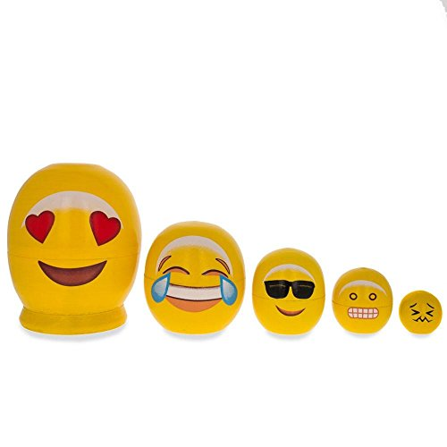 BestPysanky Emoji Wooden Nesting Dolls - in Love, Laughing, Cool Sunglasses, Grin 4 Inches