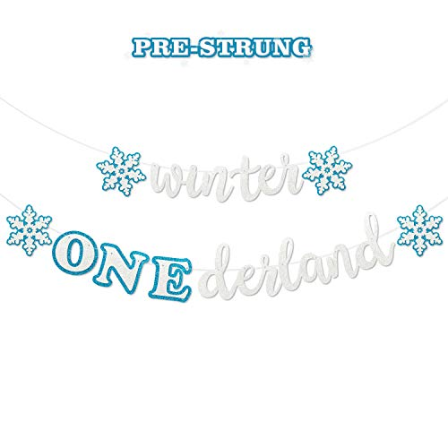 Faisichocalato Winter Onederland Banner, Blue & White Snowflakes Garland Winter 1st Birthday Decor for Baby Girls Boys Winter Onederland Frozen Themed Snow Princess First Birthday Party Decorations