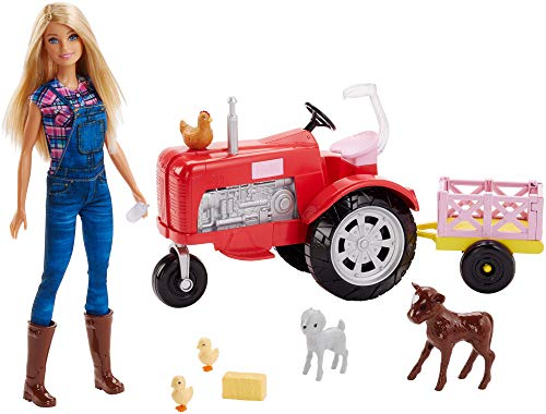 Barbie Tractor Playset with Wagon, Animals and Doll