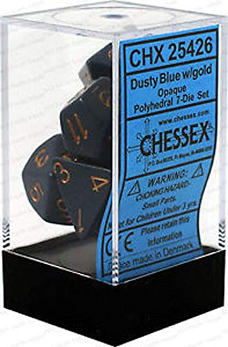 Chessex CHX25426 Dice-Opaque Dusty Blue/Copper Set
