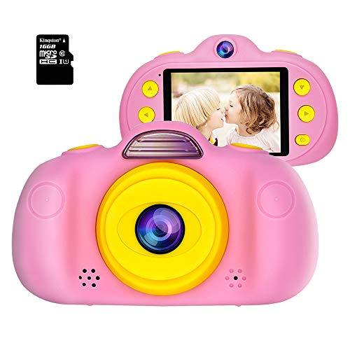 Huaker Kids Camera ,2.4Inch Screen Digital Camcorders Camera Rechargeable 8MP Children's Camera with Silicone Soft Cover for 3-10 Year Old Boys Girls Party Outdoor Play