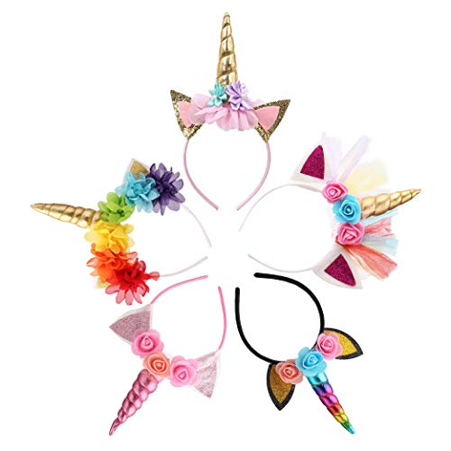 Unicorn Headband Unicorn Party Supply Party Favor Girl Hair Accessory (5 Pack)
