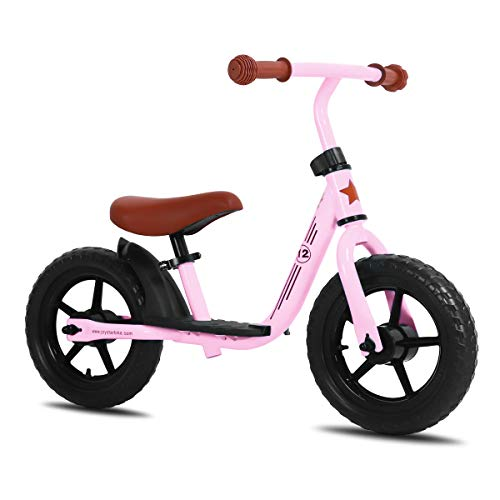 JOYSTAR 12 Inch Kids Balance Bike with Footrest for 1-5 Years Girls & Boys, Push Bike for Toddler with EVA Polymer Foam Tire, (Blue, Green, Pink, Red) (Pink, 12 Inch)