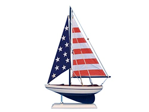 Hampton Nautical Wooden USA Flag Sailer Model Sailboat Decoration, 17