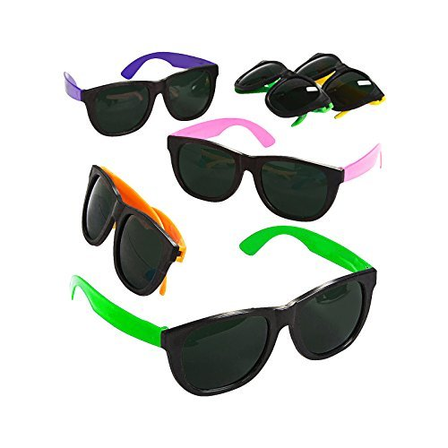 Adorox 12 Pack 80's Style Neon Party Sunglasses Children's Kids Colorful Toy Party Favor Set Birthday Aviators