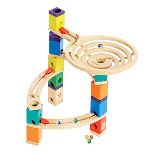 Quadrilla Wooden Marble Run Construction - The Roundabout - Quality Time Playing Together Wooden Safe Play - Smart Play for Smart Families