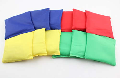 "Ifavor123 Assorted Color Nylon 5"" Bean Bags for Tossing Games Family Fun - 12 Pack"